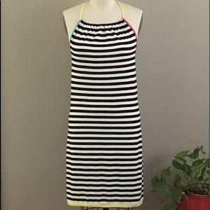 """H&M"" Black and White Striped Halter Dress"